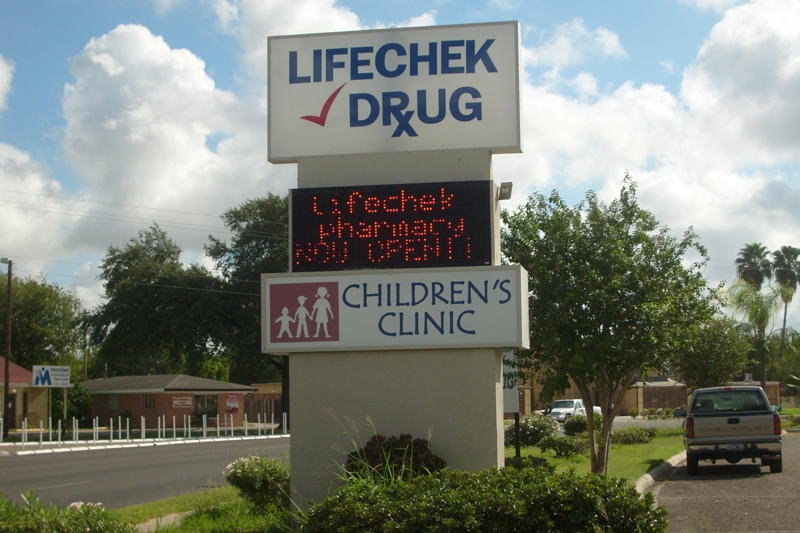 Lifechek Drug - I.D. Pylon & LED Digital Sign