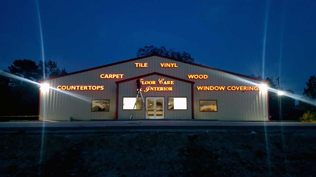Floor Care & Interior - Channel Letters Nighttime
